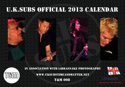 Official 2013 U.K. Subs calendar (front cover) - click image to enlarge