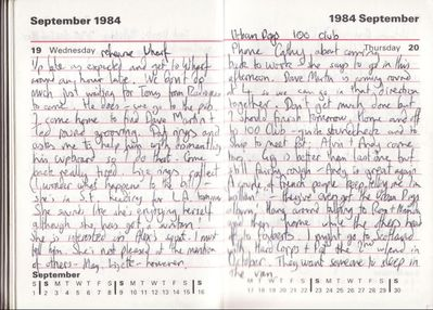 Diary entries for 19 & 20 September 1984 - click to enlarge
