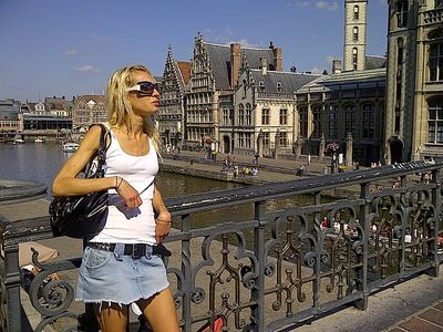Monica admires Ghent - click to enlarge