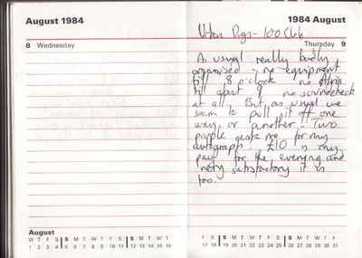 Diary entry for 9 August 1984 - click to enlarge