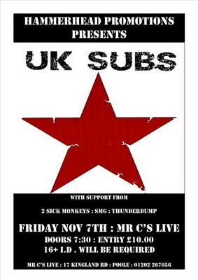 Poster for the cancelled gig in Poole