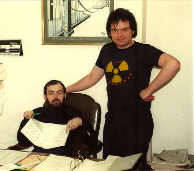 Mike Phillips, on the left in the Subs office with roadie Chutch, circa 1982, from the Nicky Garratt collection - click image to enlarge