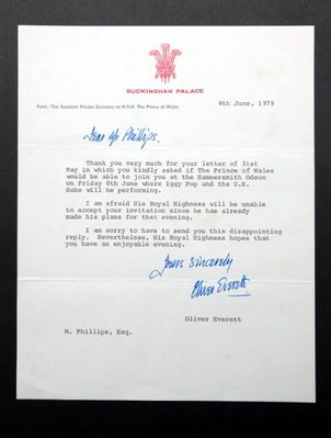 Prince Charles rejects the Subs - click image to enlarge. Thanks  to Paul Mileman for the photo of this letter from the collection of  Chutch