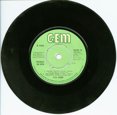 Black Vinyl Push-Out Centre B-Side