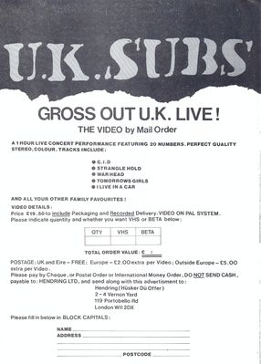 Gross Out U.K. Live flyer