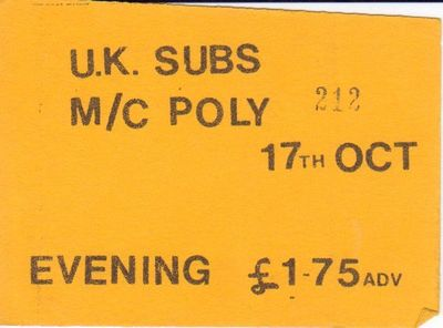 Gig ticket from the collection of Martin Prophet - click image to enlarge