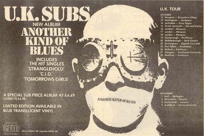 UK Subs-Another Kind Of Blues-Punk Rock-Carte de Vœux-anniversaire