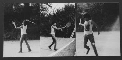 Charlie playing tennis during the recording of Endangered Species. Click image to enlarge. Photo by Paul Mileman from the collection of Chutch.