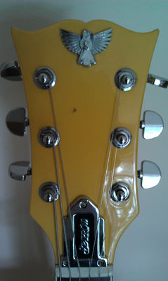 Close up of Jet's Sparrow guitar - click image to enlarge