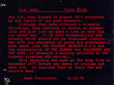 Live Kicks Back Cover Text